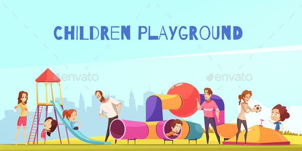 Family Playground Kids Composition - People Characters