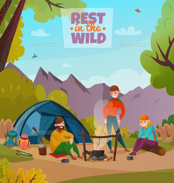 Rest Halt Camping Composition - Miscellaneous Vectors