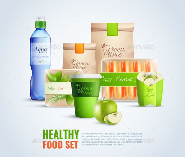 Healthy Food Packaging Template Illustration - Food Objects