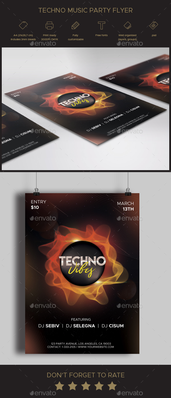 Techno Music Party Flyer - Clubs & Parties Events