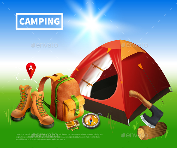 Camping Realistic Flyer - Travel Conceptual
