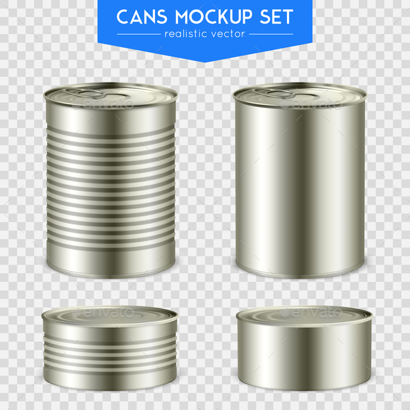 Realistic Cylindrical Cans Mockup Set - Food Objects