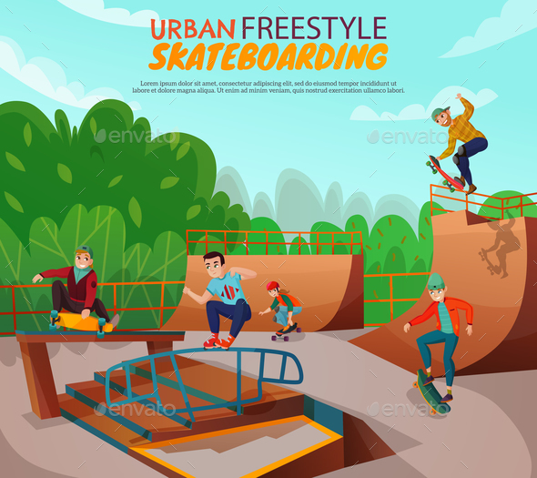 Urban Skateboarding Background - Sports/Activity Conceptual