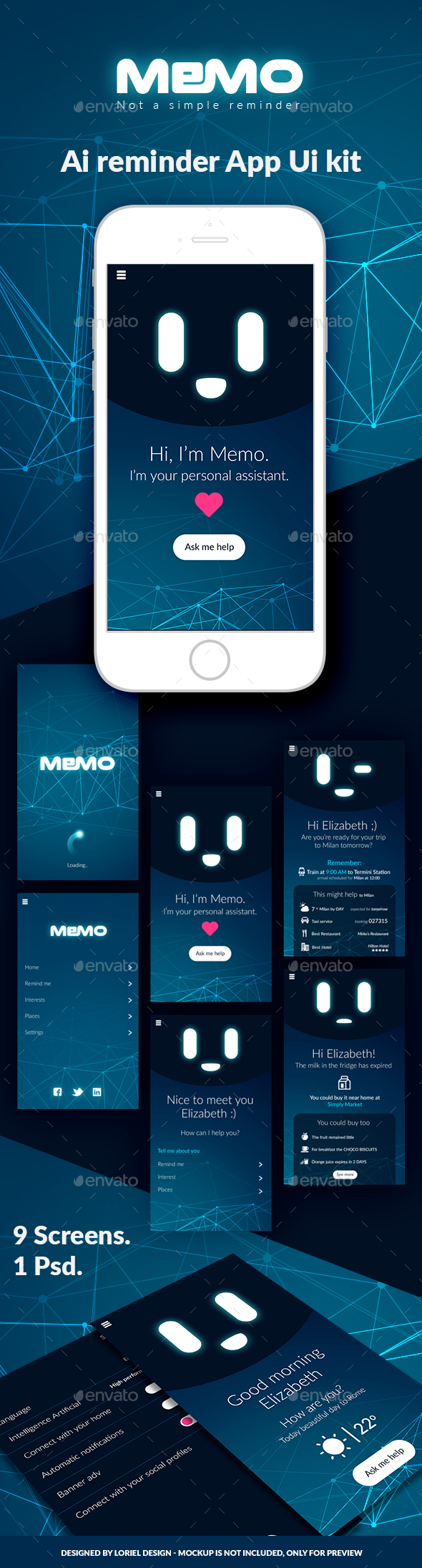 Memo - Mobile AI Reminder App Ui kit - User Interfaces Web Elements
