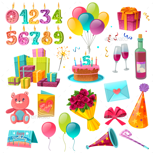Celebration Birthday Cartoon Set - Birthdays Seasons/Holidays