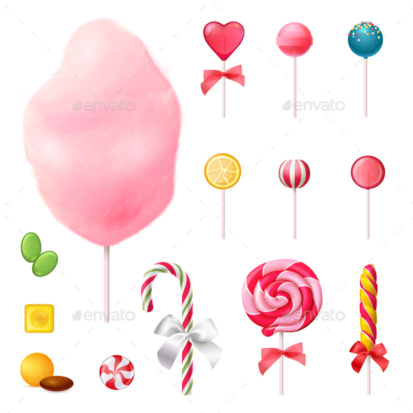 Sweets Realistic Icons Set - Food Objects