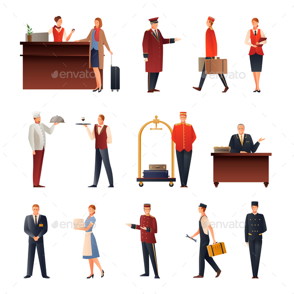 Hotel Staff Flat Icons Set - People Characters
