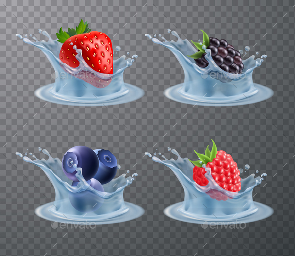 Berries Water Splashes Realistic Set - Food Objects