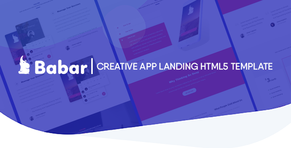 Babar - Multipurpose Responsive App / One page Template - Technology Site Templates