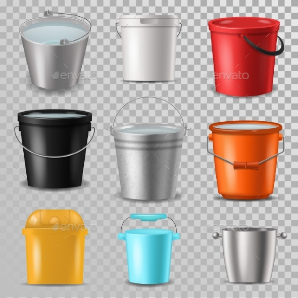 Bucket Vector Bucketful and Bitbucket Plastic Pail - Miscellaneous Vectors