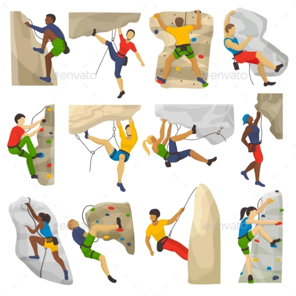 Mountain Climbing Vector Climber Climbs Rock Wall - Sports/Activity Conceptual