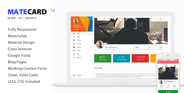 mateCard - Materialize vCard/CV/Resume HTML Template - Virtual Business Card Personal
