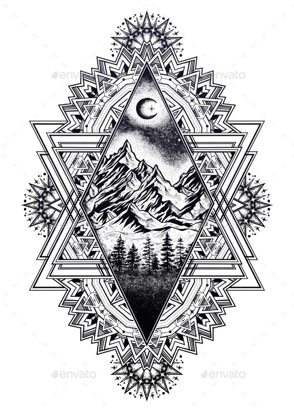 Decorative Ornate Frame Forest Mountain Landscape. - Landscapes Nature