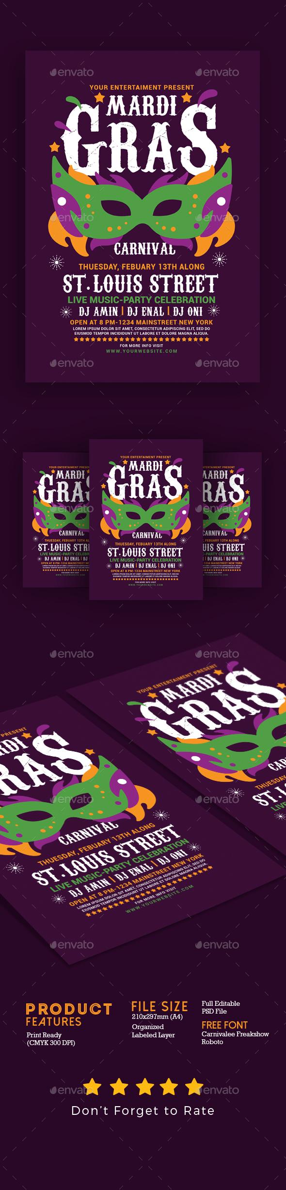 Mardi Gras Flyer Template - Events Flyers