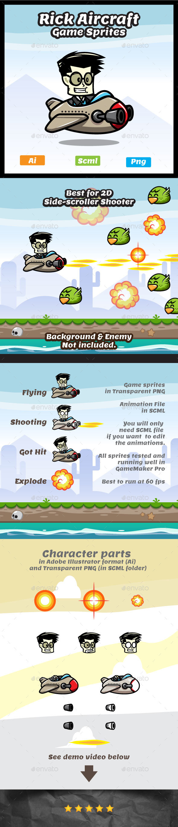 Rick Aircraft 2D Game Character Sprites - Sprites Game Assets