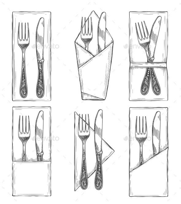 Cutlery on Napkins Set Sketch - Food Objects
