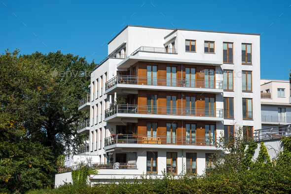 Modern white apartment house in Berlin - Stock Photo - Images