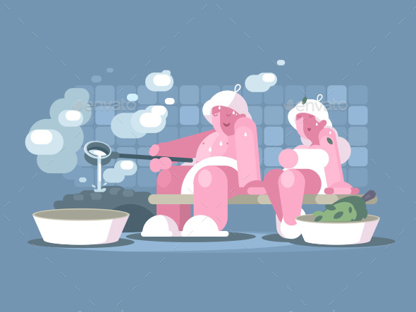 Man and Woman Relaxing in Sauna - People Characters