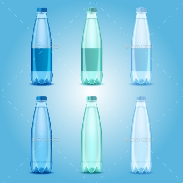 Vector Realistic Plastic Drinking Water Bottles - Food Objects