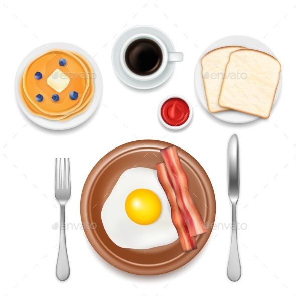 Breakfast Foods Vector Top View Illustration - Food Objects