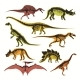 Dinosaurs Skeletons and Silhouettes Vector Flat - GraphicRiver Item for Sale