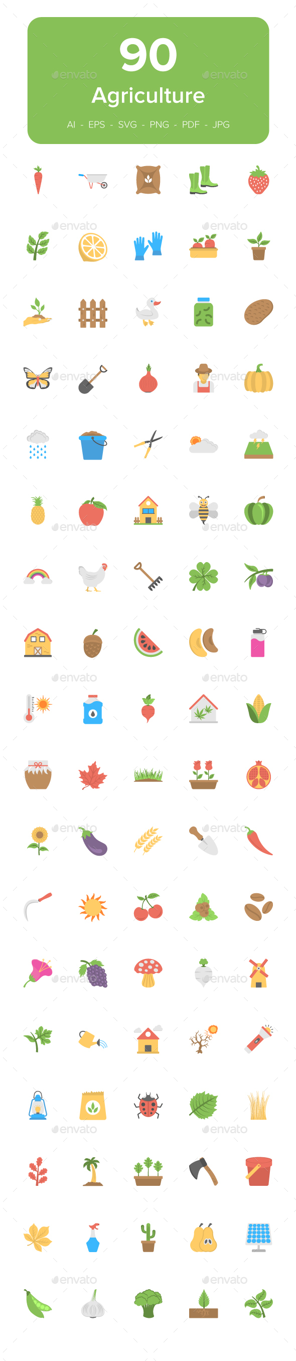 90 Agriculture Flat Vector Icons - Icons