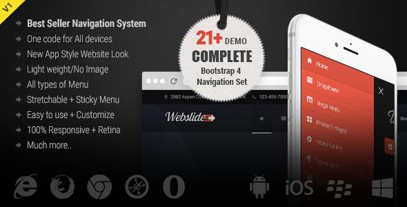 CodeCanyon Web Slide Bootstrap 4 Mega Menu Responsive 21299306