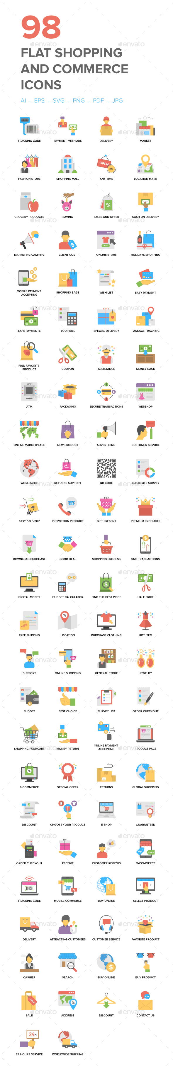 Flat Shopping and Commerce Icons - Icons