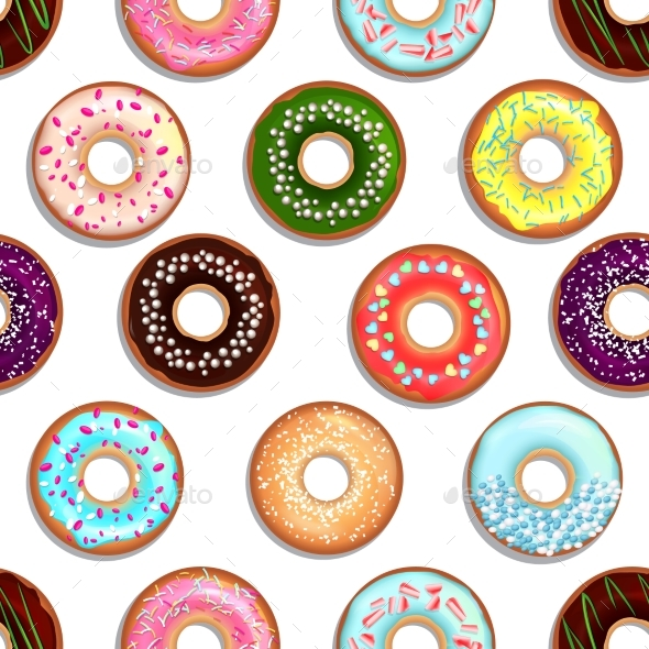 Vector Seamless Pattern with Tasty Foods. Desserts - Backgrounds Decorative