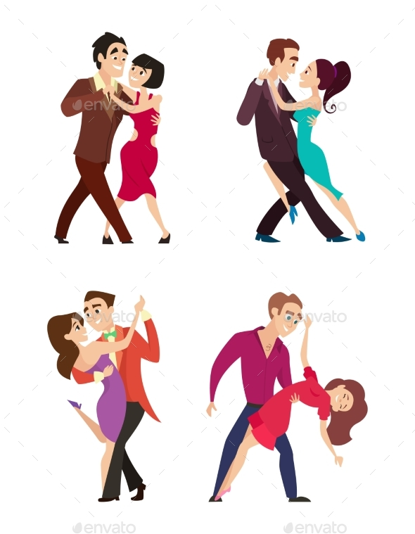 Funny Couples Dancing Latin and Foxtrot Dance - People Characters