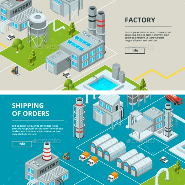 Horizontal Banners with Industrial Buildings - Objects Vectors