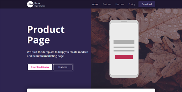 Bleux - App, Product and Technology Landing Page