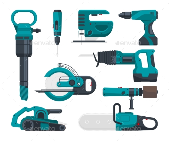 Construction Electro Tools for Repair. Vector - Objects Vectors