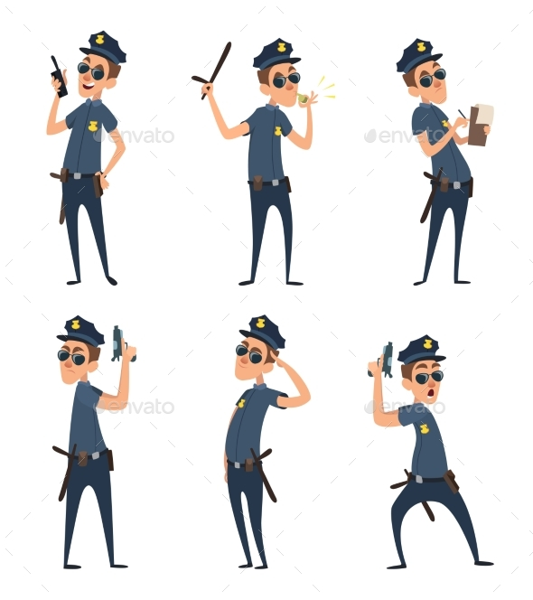 Funny Cartoon Characters of Policemen in Action - People Characters