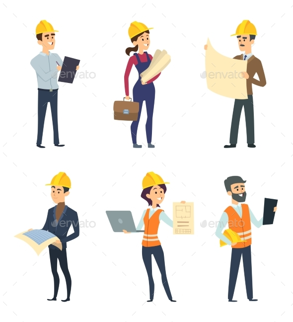 Male and Female Workers of Engineers and Other - People Characters