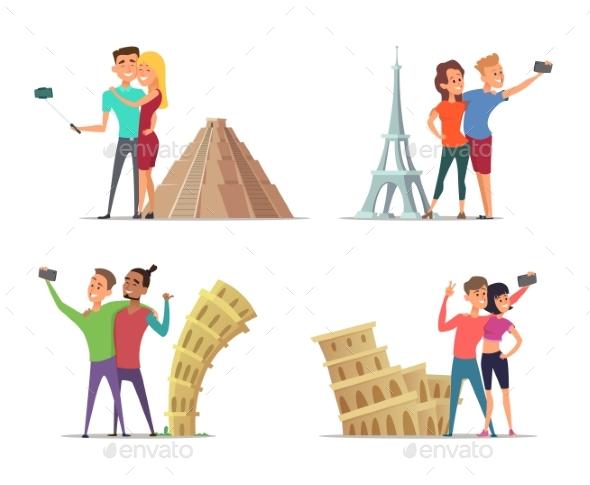Happy Couples Make Selfie Near Landmarks. Vector - People Characters