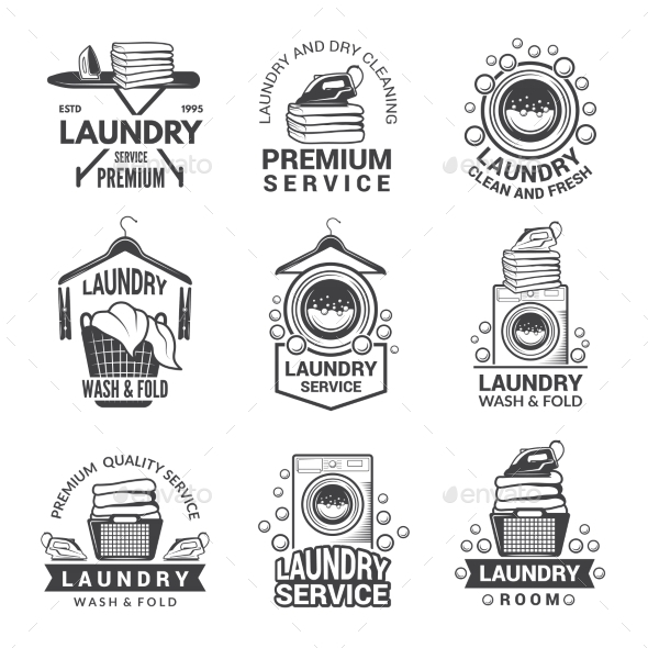 Labels or Logos for Laundry Service - Miscellaneous Vectors