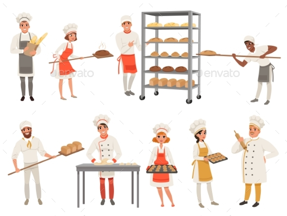 Bakers Characters Set with Bread and Cooking Tools - People Characters