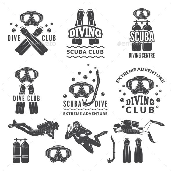 Silhouette of Scuba and Divers Labels - Miscellaneous Vectors