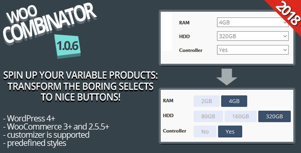 WooCombinator for variable products - Turn your boring selects into buttons! - CodeCanyon Item for Sale