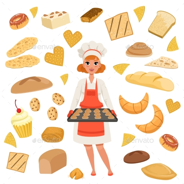 Woman Baker Standing with a Baking Tray - Food Objects
