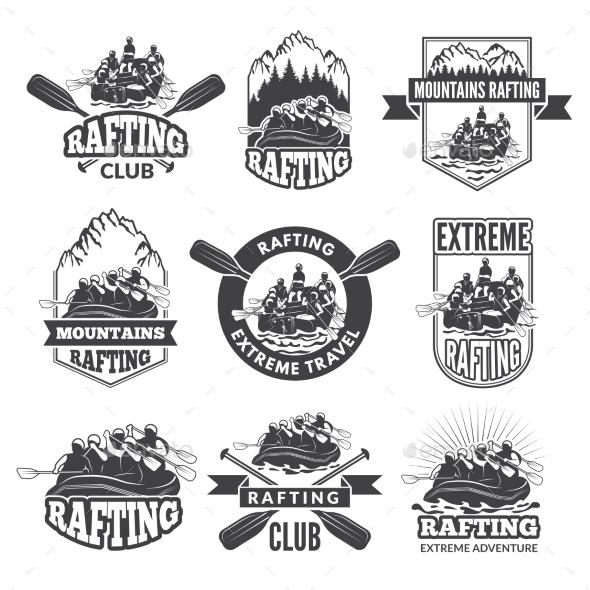 Vintage Monochrome Labels for Dangerous Water - Sports/Activity Conceptual