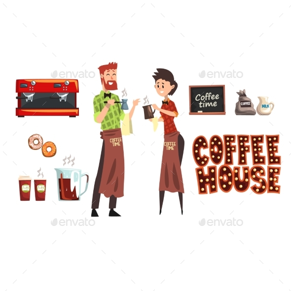 Smiling Bearded Man with Cezve and Woman Barista - People Characters
