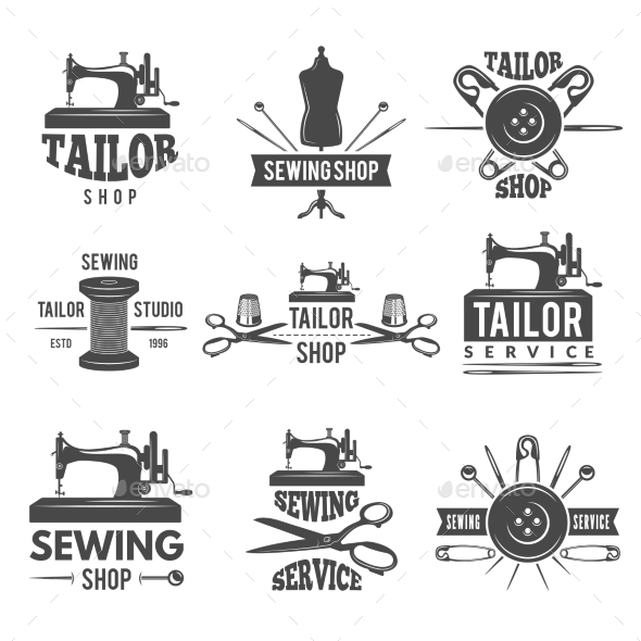 Different Labels or Logos Set for Tailor Shop - Decorative Symbols Decorative