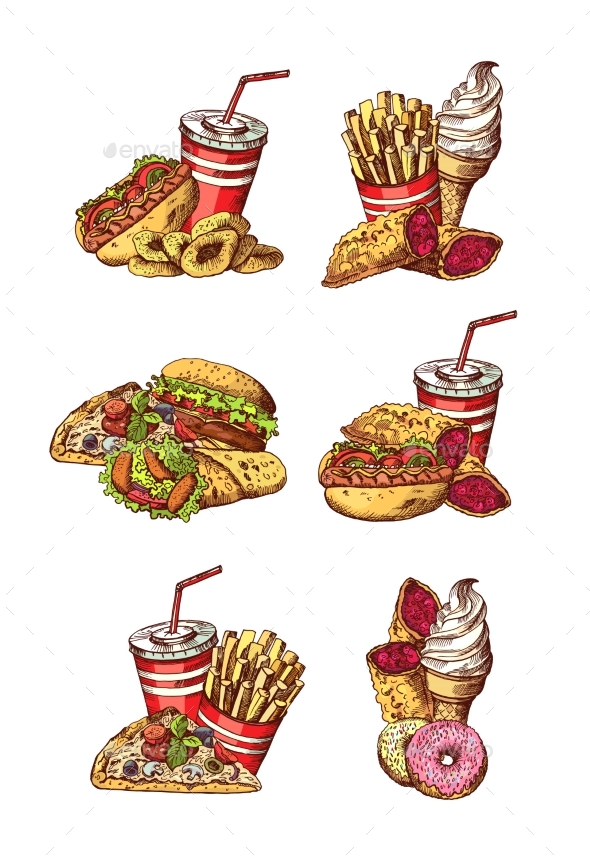 Vector Set of Hand Drawn Colored Fast Food - Food Objects