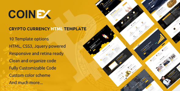 ThemeForest COINEX Bitcoin And Crypto Currency HTML Template 21176834