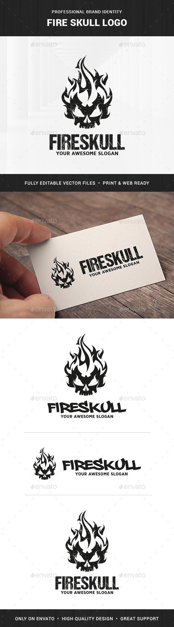 Fire Skull Logo Template - Humans Logo Templates