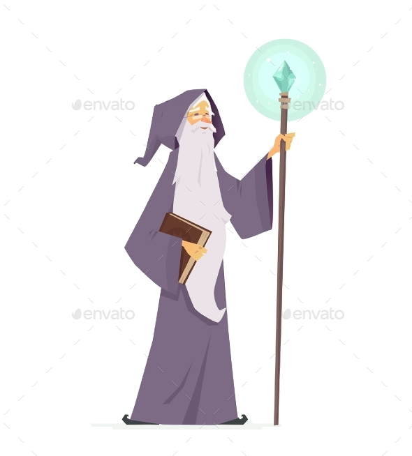 Wizard with Magic Book and Wand - Cartoon People - People Characters