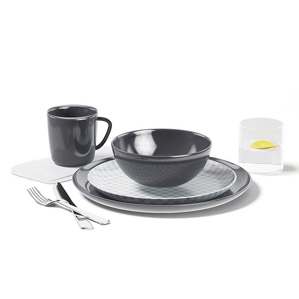 Dishes Set 3D Model - 3DOcean Item for Sale