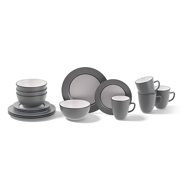 Grey Dishes Set 3D Model - 3DOcean Item for Sale